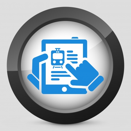 Train website on tablet icon Vector