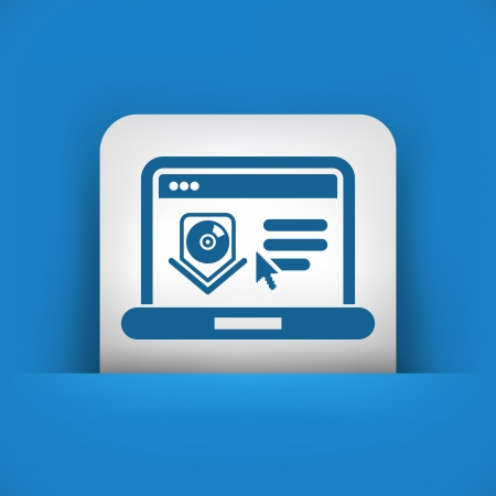 Illustration of computer download or update page icon Vector