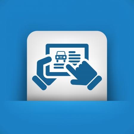 Car website icon on tablet Illustration