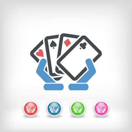 hold hand: Poker game icon concept