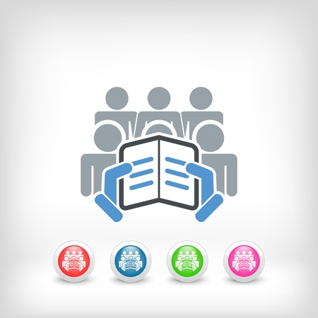 listeners: Reader with a group of listeners concept icon Illustration