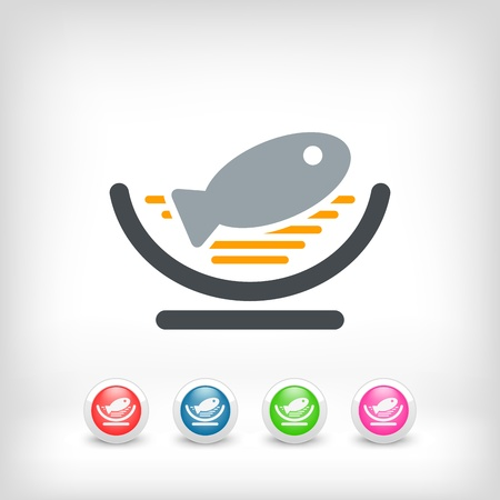 Dish of fish icon Stock Vector - 19875636