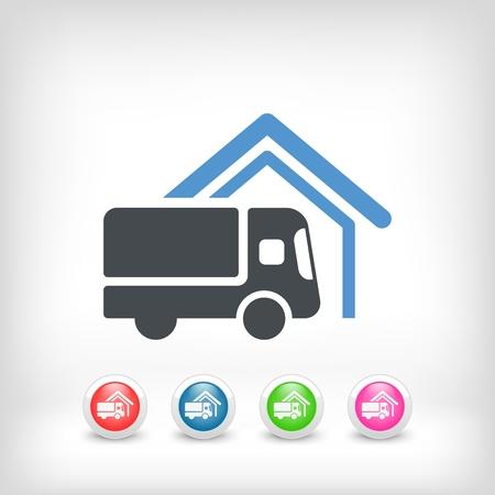 Van delivery concept icon Stock Illustratie