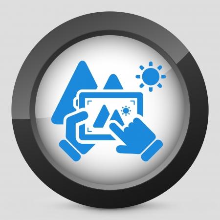videomaker: Landscape digital photo concept icon