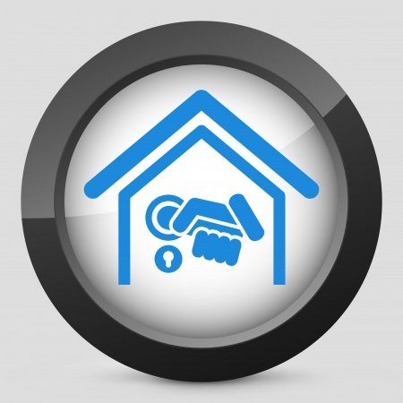 burglar alarm: Home door handle icon Illustration