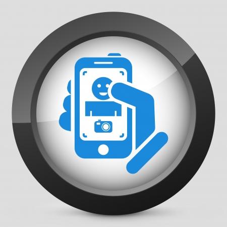 Touch device mobile photo portrait concept Stock Vector - 19875601