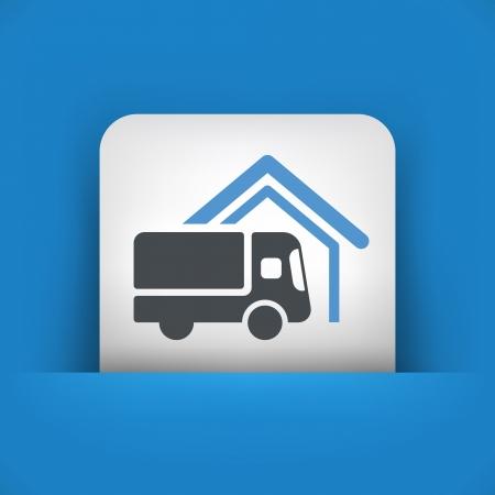 delivering: Van icono concepto de entrega Vectores
