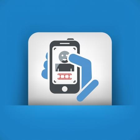 Touch device mobile photo portrait concept Vector