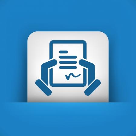 signing papers: Document signature icon