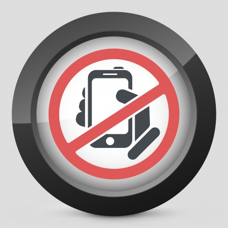 cell phones not allowed: Forbidden phone icon Illustration