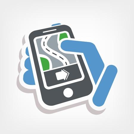 Smartphone navigator icon Stock Vector - 20236377