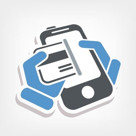 Card phone icon Illustration