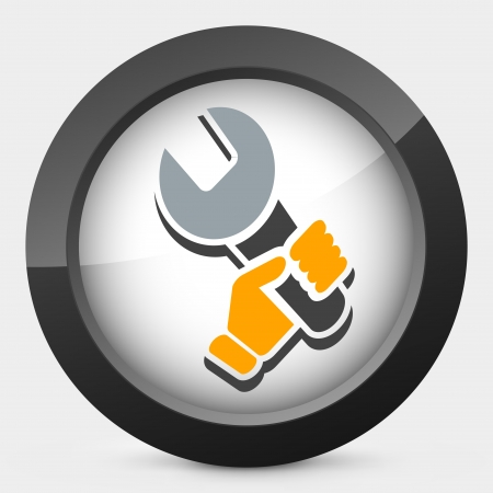 Wrench holding icon Vector