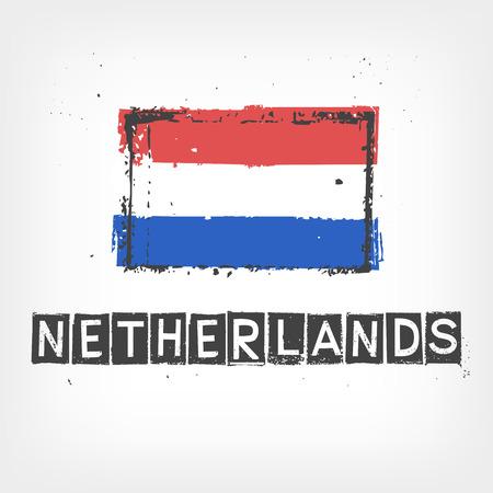 made in netherlands: Netherlands flag stylized Illustration