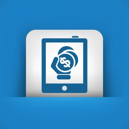 Money icon on touch device Vector