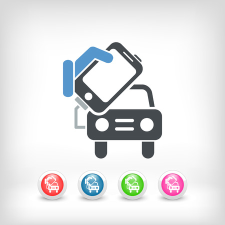 Connection of smartphone to car  Vector