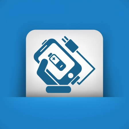 cellphone in hand: Phone charge icon