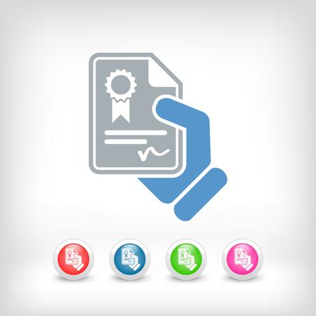 qualify: Certificate document icon