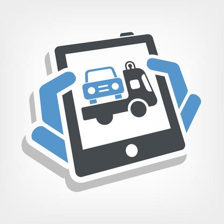 breakdown truck: Car assistance icon Illustration