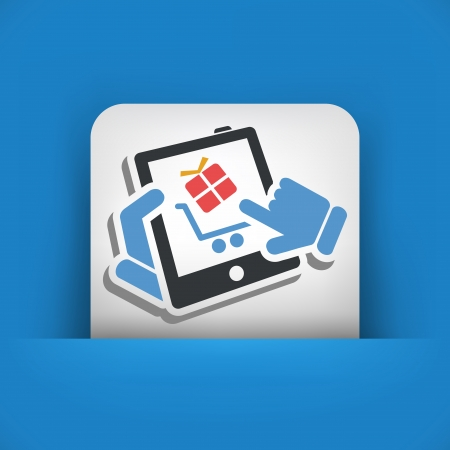 Shopping on tablet icon