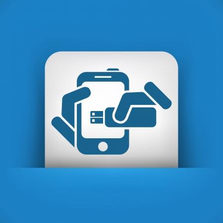 pendrive: Smartphone storage icon Illustration