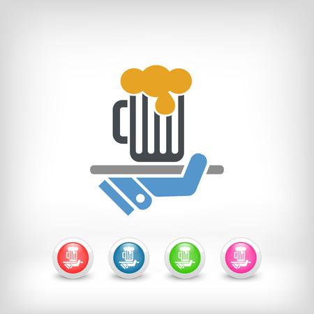 cin: Waiter serving beer icon