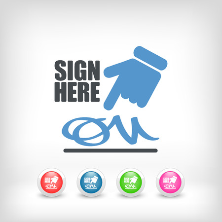 Sign on document icon Stock Vector - 26767821