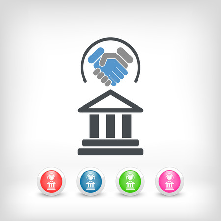 bank building: Legal agreement icon