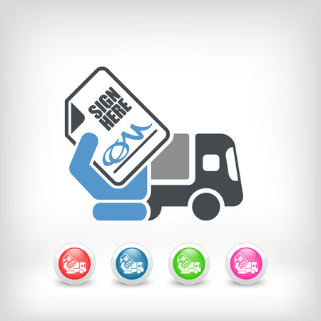 bellboy: Delivery document sign icon Illustration
