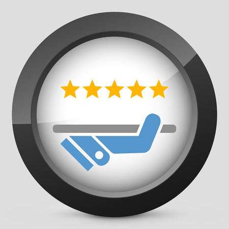 restaurant rating: Top quality service icon Illustration