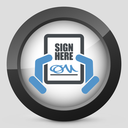Sign on document icon Stock Vector - 26768120