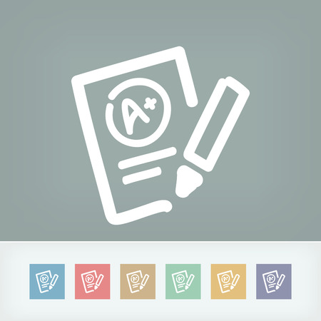 evaluating: Excellent evaluation test icon Illustration