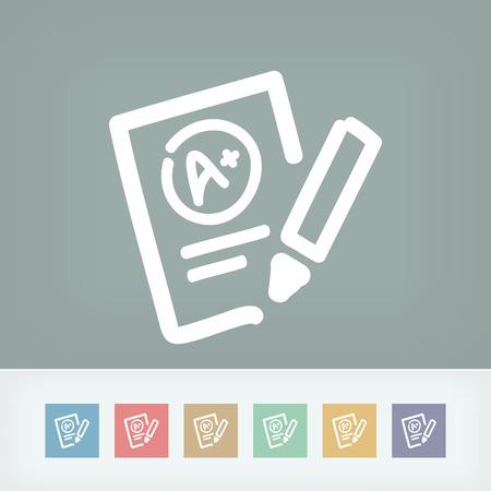 Excellent evaluation test icon Illustration