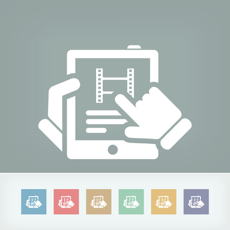 Movie or cinema news on tablet icon Vector