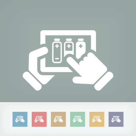 accumulate: Illustration of tablet battery charge concept