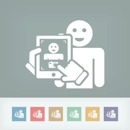 videomaker: Touch device mobile photo portrait concept