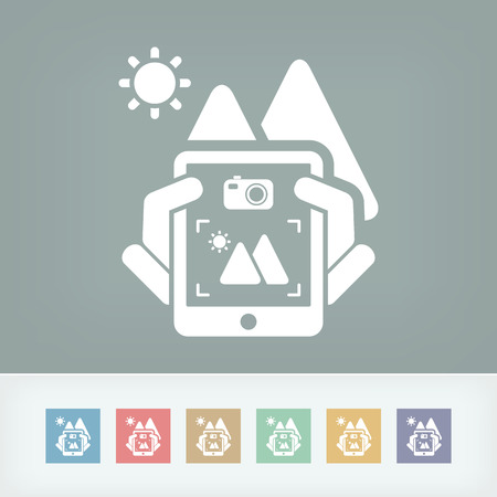 Landscape digital photo concept icon Vector