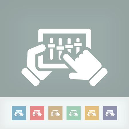 dee jay: Concept of touchscreen mixer icon