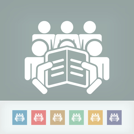 Reader with a group of listeners concept icon Vector