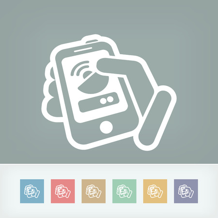 satellite transmitter: Antenna smartphone or tablet icon Illustration