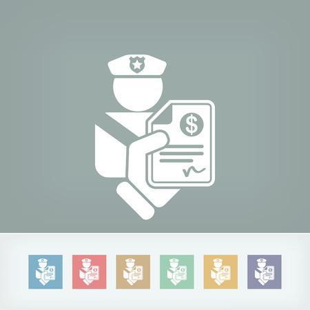 traffic violation: Policeman fine icon Illustration