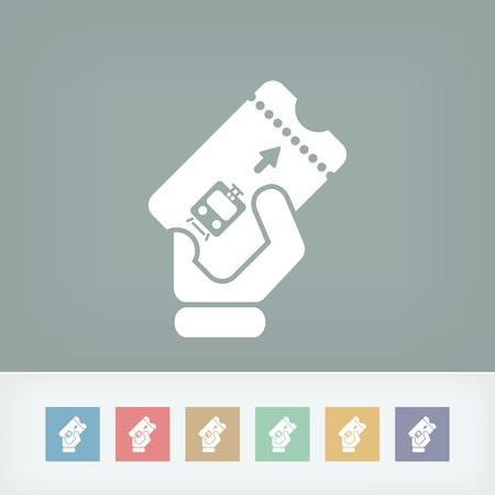 Treinkaartje pictogram Stock Illustratie