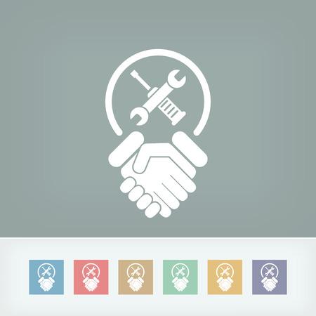Worker handshake icon Vector