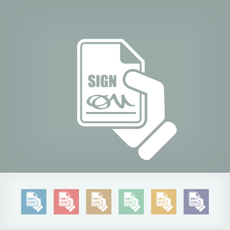 Sign on document icon Stock Vector - 27151871