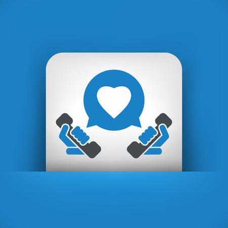 call us: Love call icon Illustration