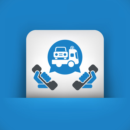 the wrecker: Wrecker call icon Illustration