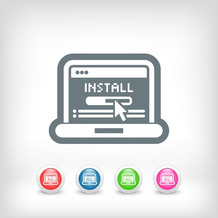 Pc install icon Vector