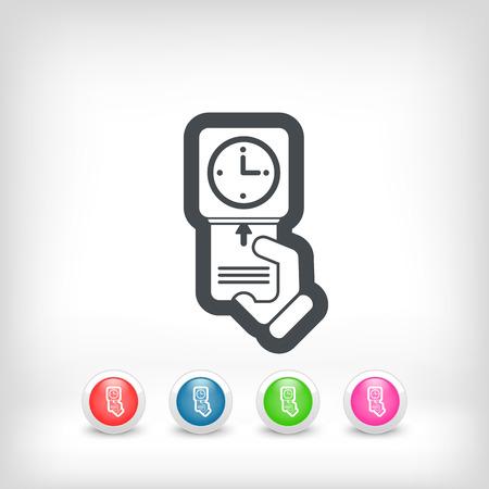timecard: Clocking-in card icon Illustration