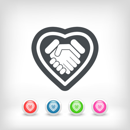 Love handshake minimal icon Vector