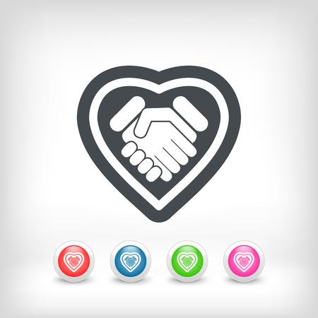 community service: Love handshake minimal icon Illustration